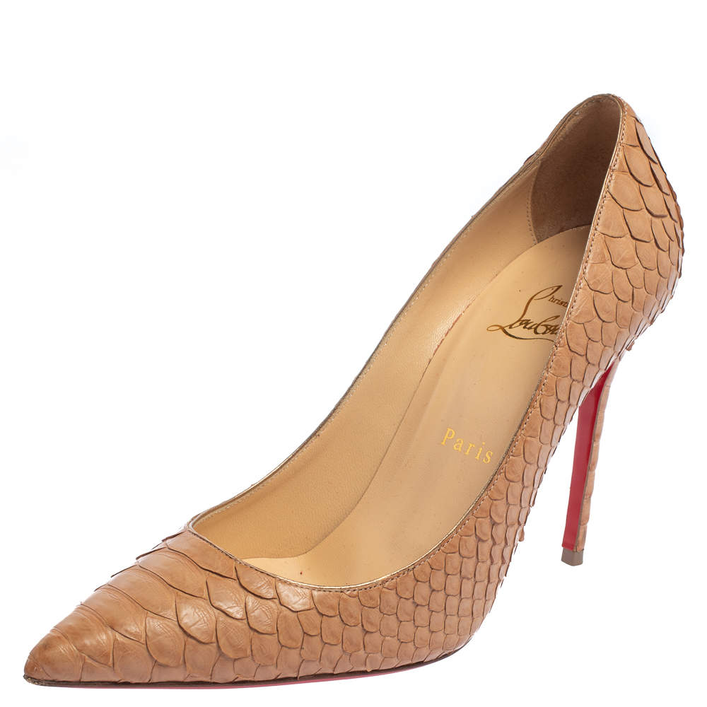 Christian Louboutin Beige Python So Kate Pointed Toe Pumps Size 37.5