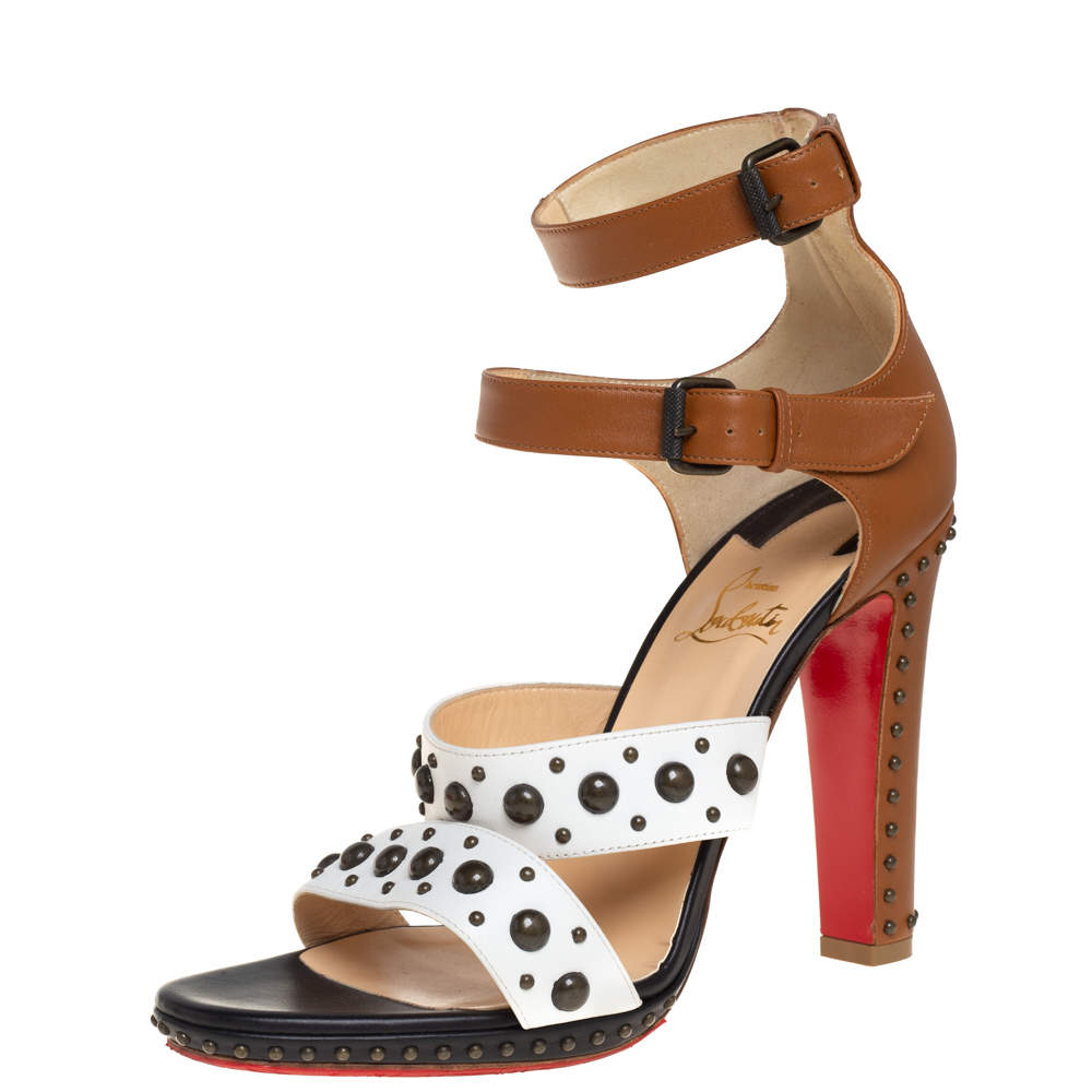 Christian Louboutin three Tone White/Black Leather Studded Sandals Size 40