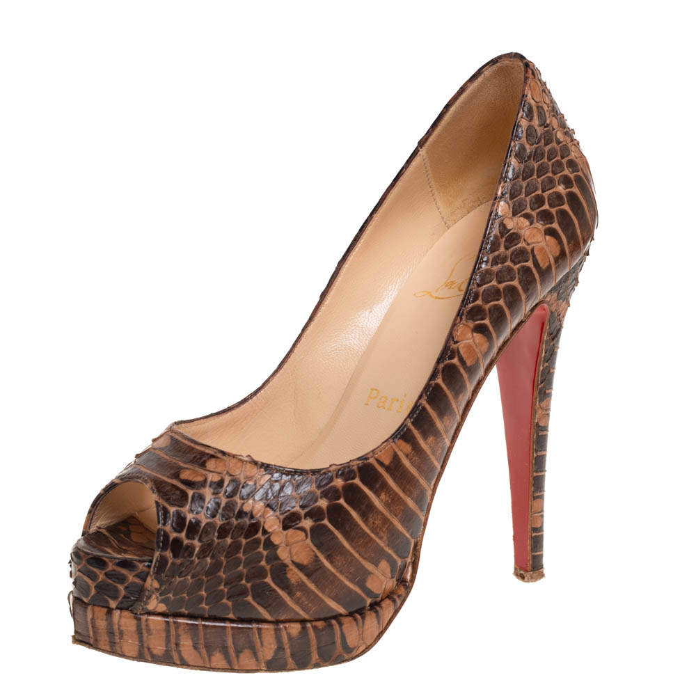 Christian Louboutin Brown/Beige Watersnake Leather Altadama Peep Toe Platform Pumps Size 35