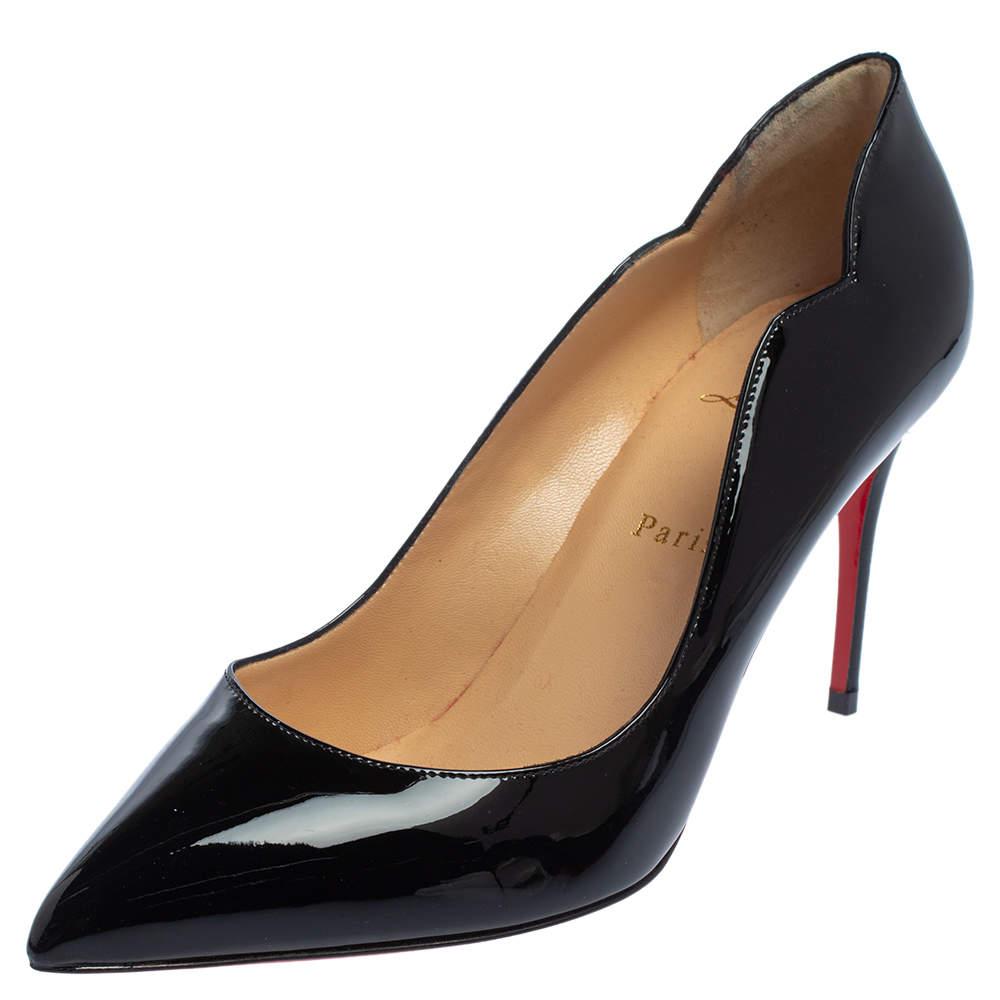 Christian Louboutin Black Patent Leather Hot Chick Pumps Size 40