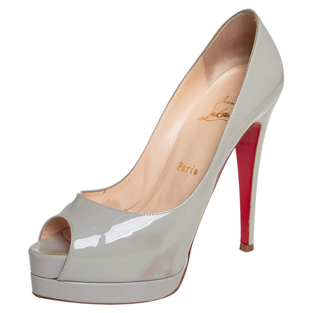 Christian Louboutin Grey Patent Leather Altadama Peep Toe Platform Pumps Size 36.5
