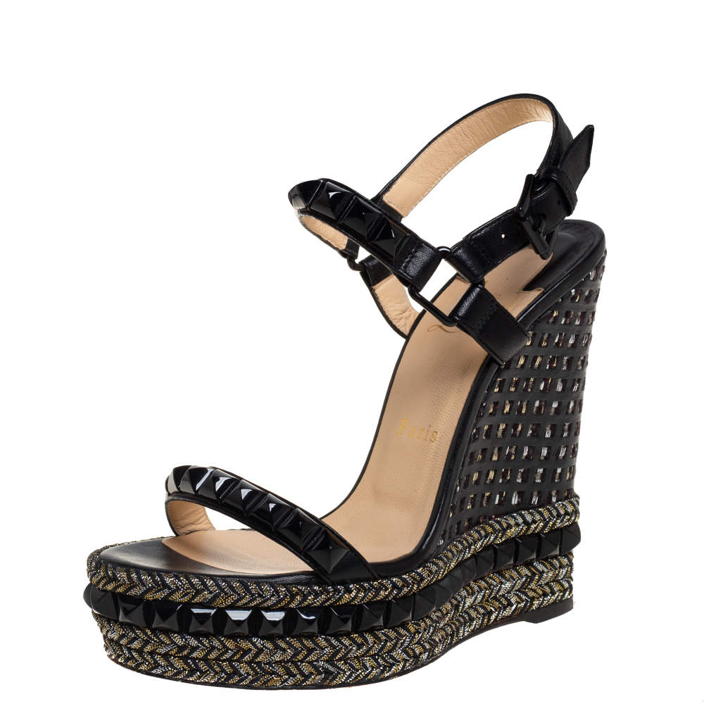 Christian Louboutin Black Studded Leather Cataclou Espadrille Wedge Sandals Size 37