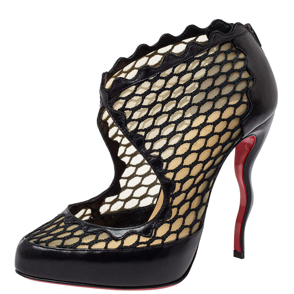 Christian Louboutin Black Net, Mesh And Leather Violet  Ankle Boots Size 36.5