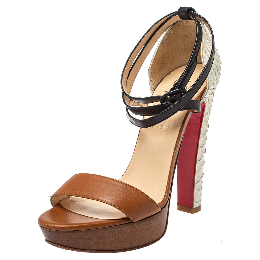 Christian Louboutin Multicolor Python And Leather Summerissima Platform Sandals Size 38.5
