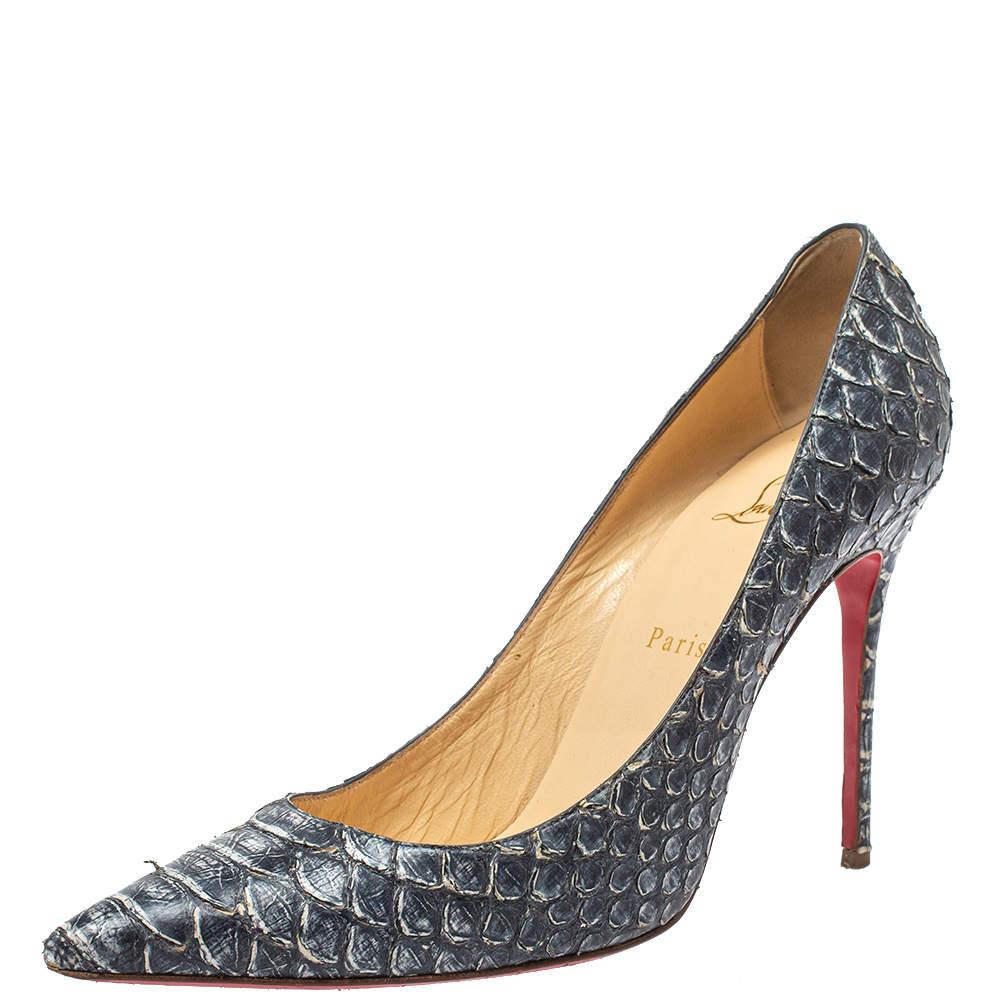 حذاء كعب عالي كريستيان لوبوتان ديكوليت جلد نقشة الثعبان أزرق/أبيض مقاس 40.5