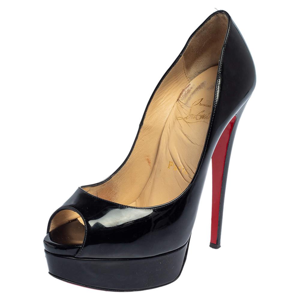 Christian Louboutin Black Patent Leather Lady Peep Toe Pumps Size 37
