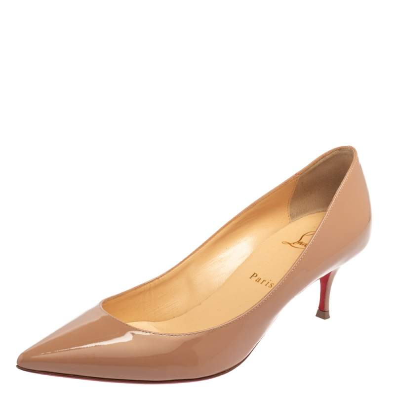 Christian Louboutin Beige Patent Leather Pigalle Follies Pointed Toe Pumps Size 39