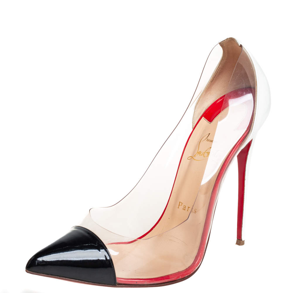 Christian Louboutin Black/White Leather And PVC Debout Pumps Size 40.5