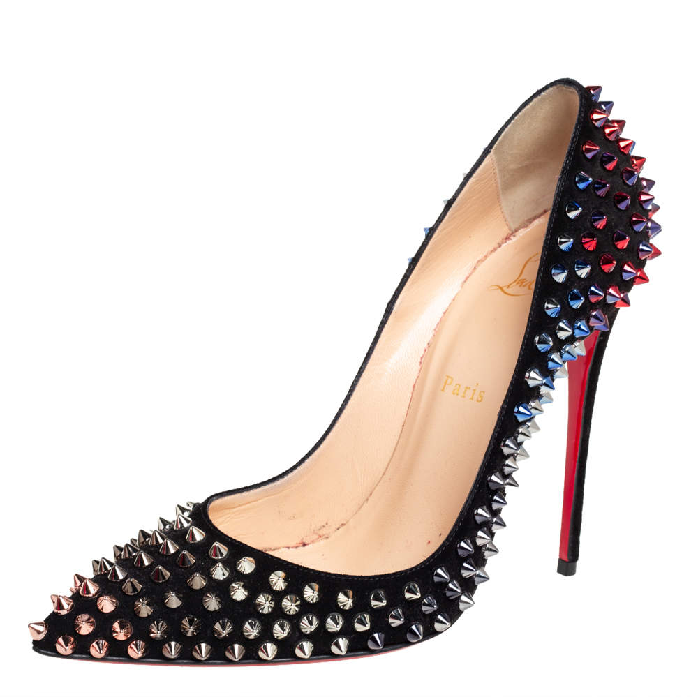 Christian Louboutin Black Suede Pigalle Follies Spikes Pumps Size 39