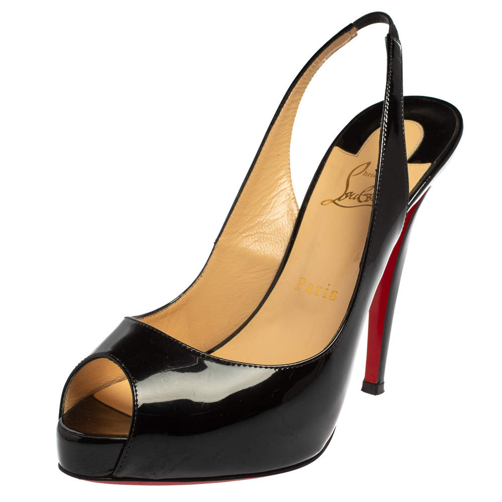 Christian Louboutin Black Patent Leather Private Number Peep Toe Slingback Sandals Size 39