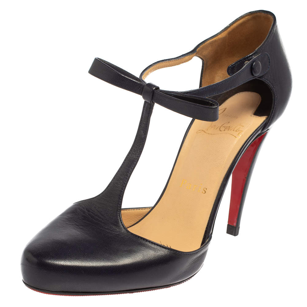Christian Louboutin Navy Blue Leather Bow Detail T- Strap Pumps Size 38.5