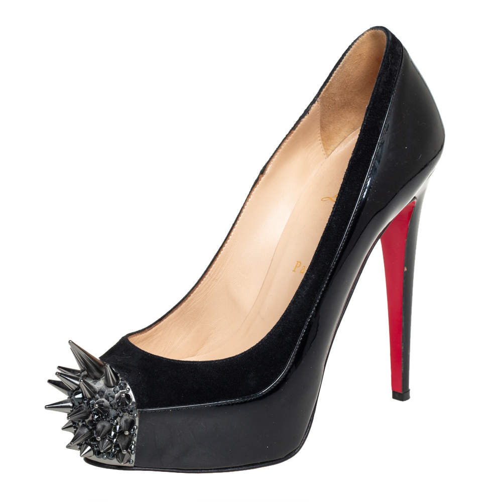 Christian Louboutin Black Patent Leather Asteroid Pumps Size 38