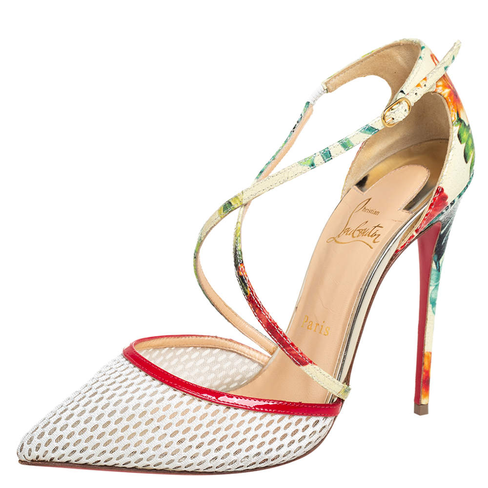 Christian Louboutin Multicolor Mesh And Printed Patent Leather Cross Blake Pumps Size 38.5