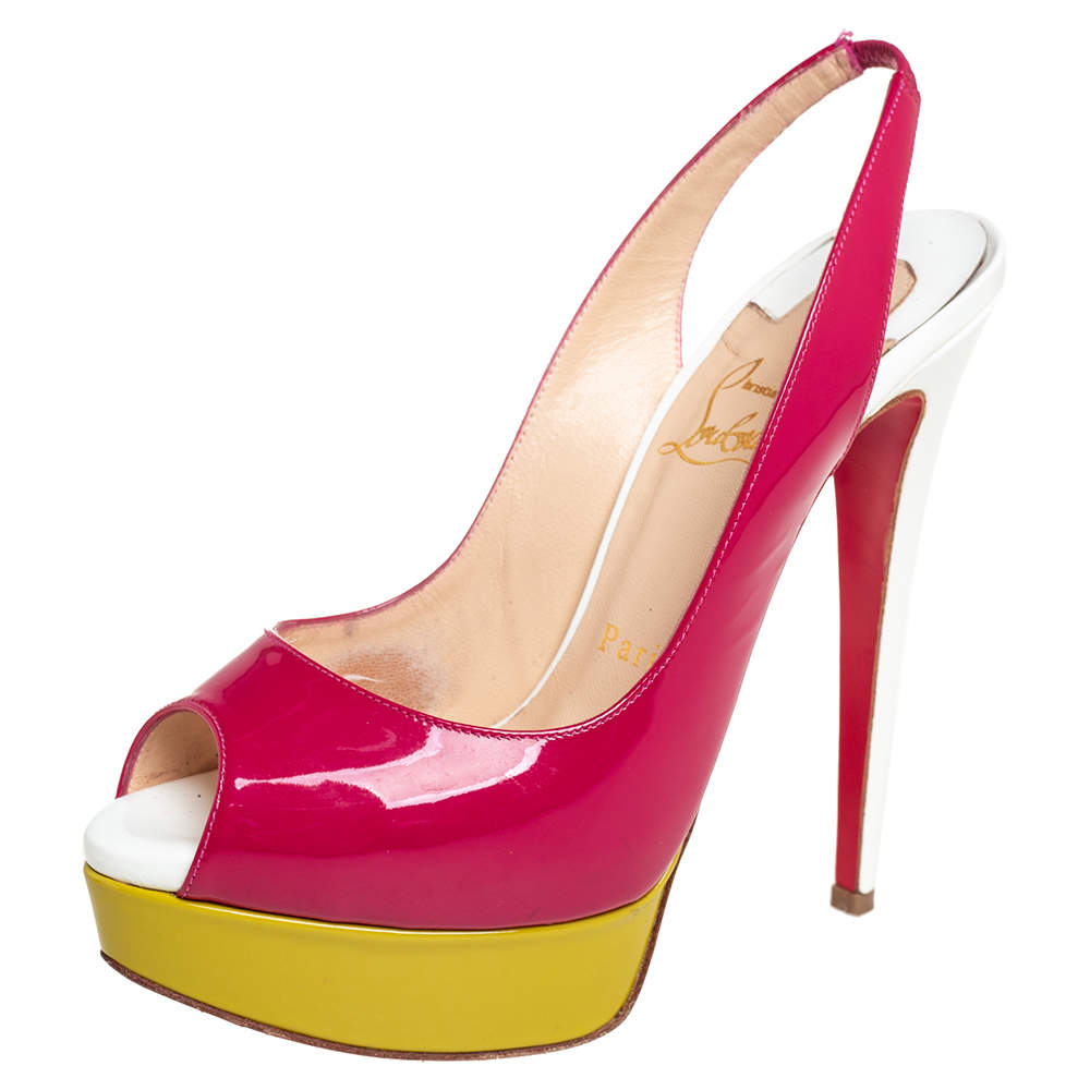 Christian Louboutin Multicolor  Patent Leather Lady Peep Sandals Size 36.5