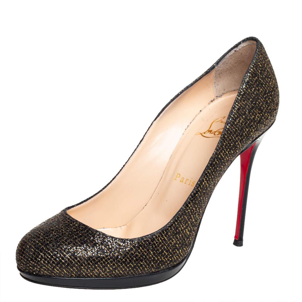 Christian Louboutin Black/Gold Glitter And Lurex Filo Pumps Size 39
