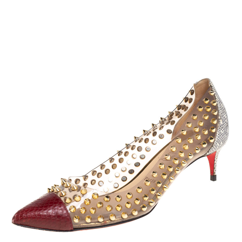 Christian Louboutin Multicolor Python and PVC Spike Me Pumps Size 40