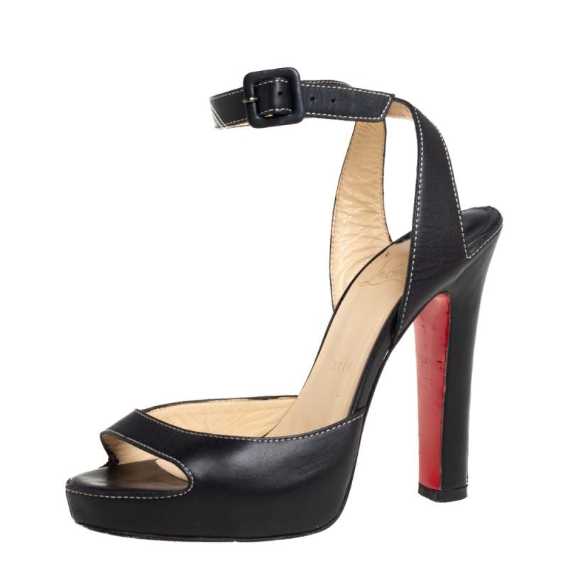 Christian Louboutin Black Leather Ankle Strap Sandals Size 37