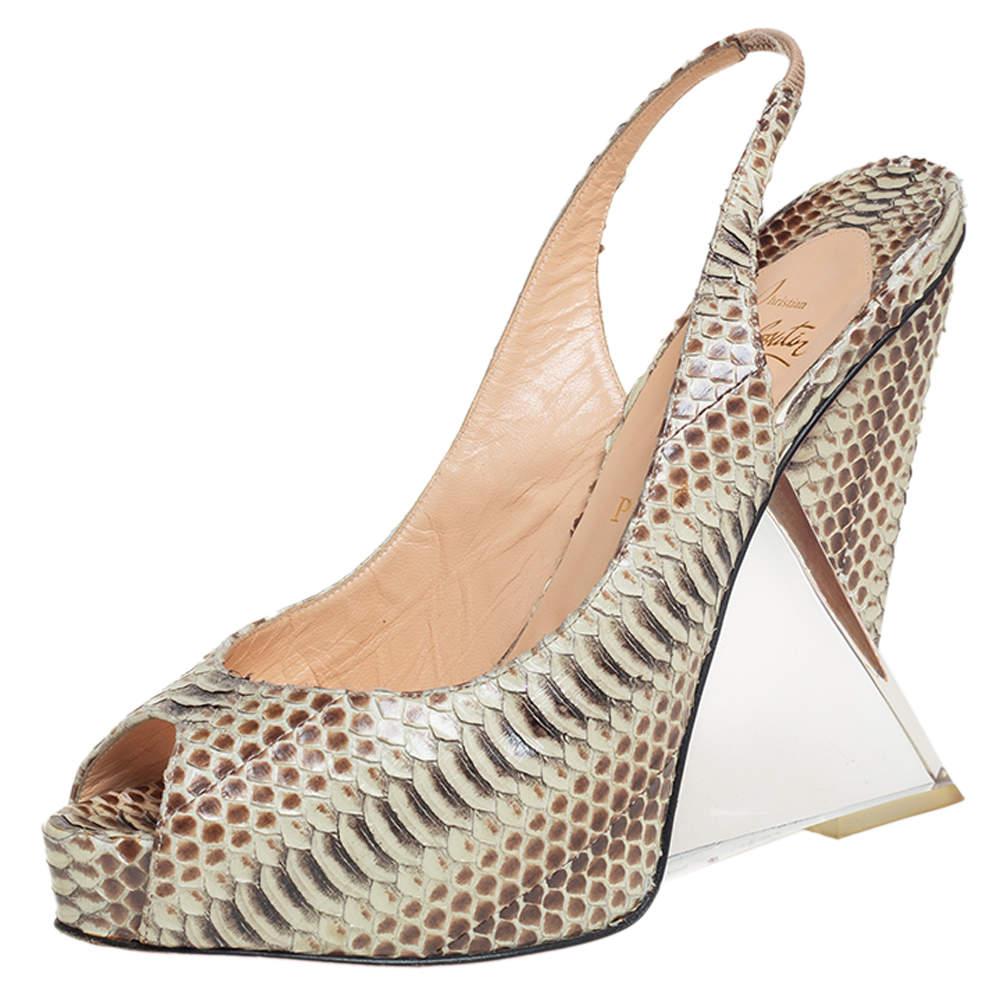 Christian Louboutin Beige Python Peep Toe Slingback Acrylic Heel Platform Sandals Size 40