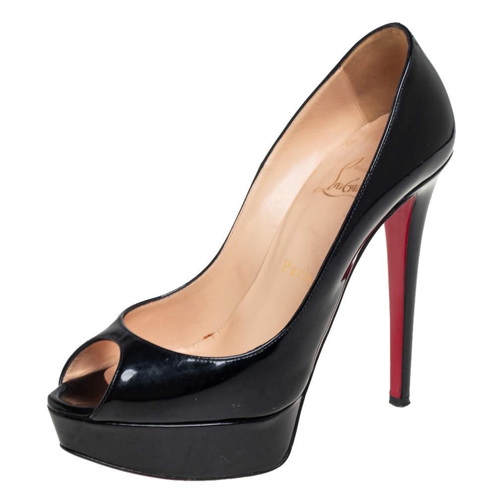 Christian Louboutin Black Patent Leather Banana Platform Peep Toe Pumps Size 37.5