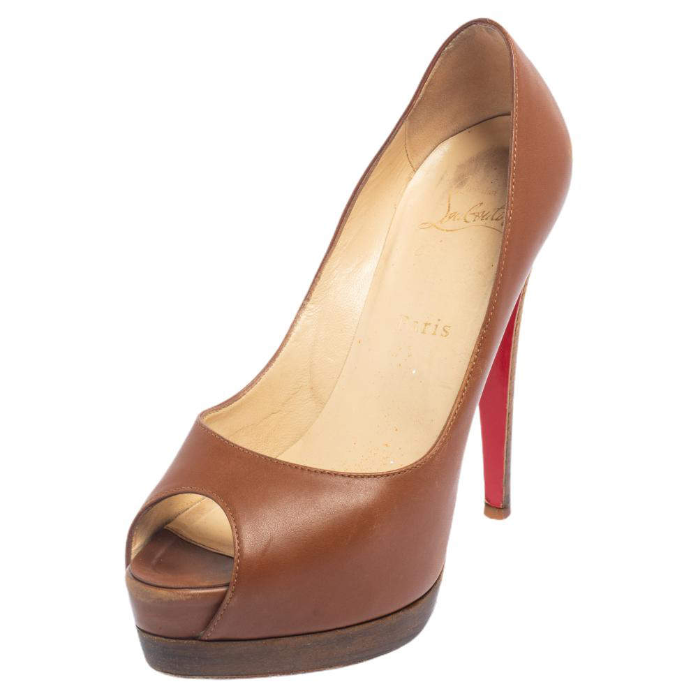 Christian Louboutin Brown Leather Very Prive Peep Toe Pumps Size 37