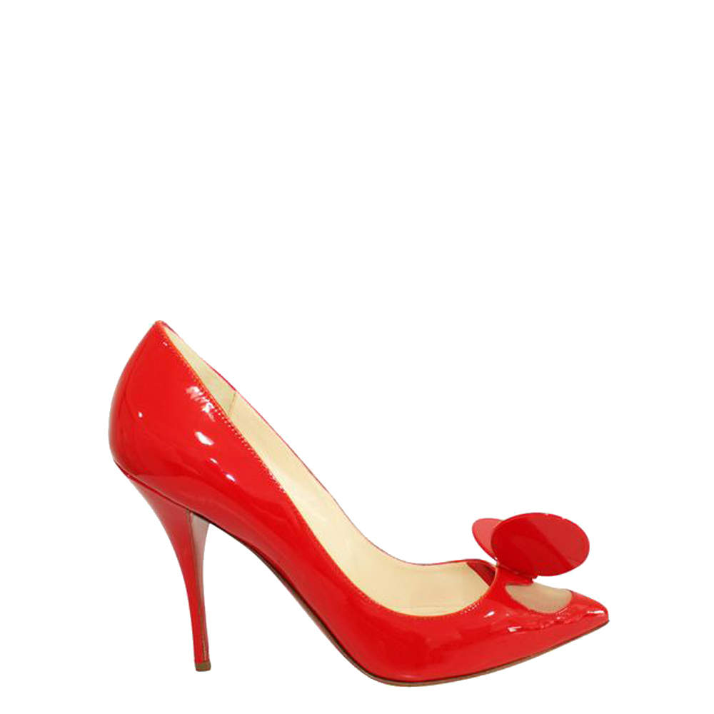 Christian Louboutin Red Madame Mouse Patent Leather Heels Size EU 39