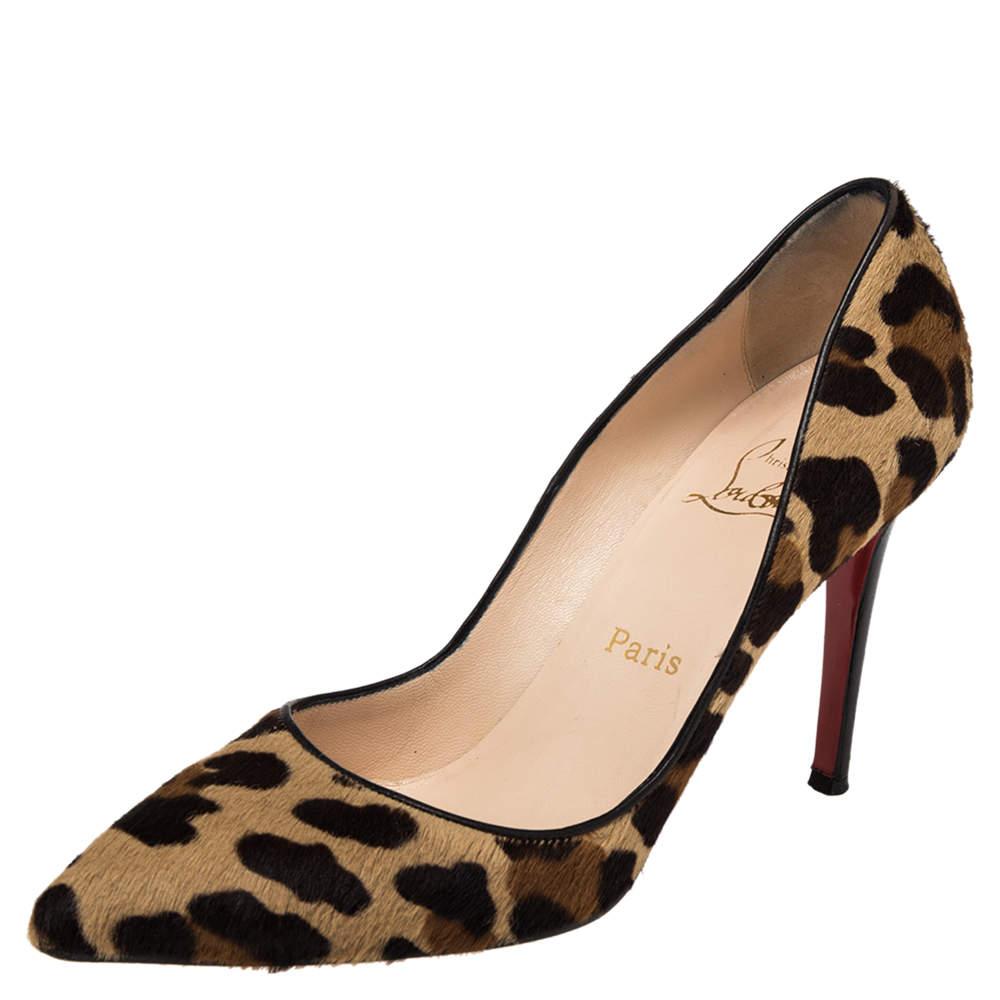 Christian Louboutin Brown Leopard Print Calfhair Pigalle Pumps Size 39