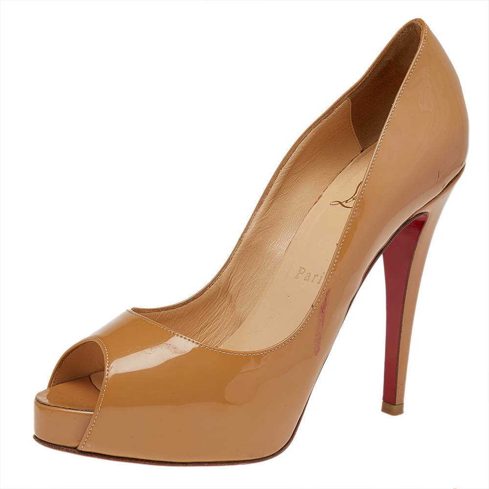 Christian Louboutin Beige Patent Leather New Very Prive Peep Toe Platform Pumps Size 38.5