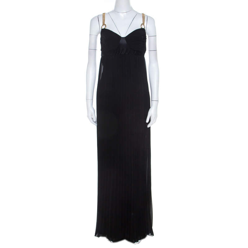 Class By Roberto Cavalli Black Pleated Chiffon Gold Chain Strap Detail Maxi Dress M