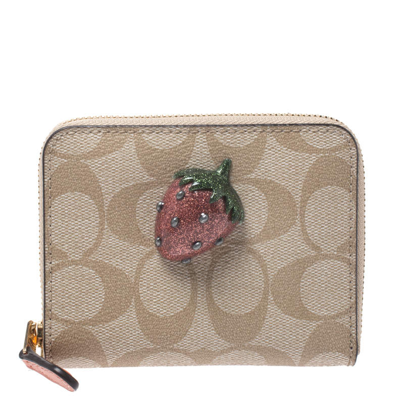 Coach Beige Signature Coated Canvas Strawberry Zip Around Wallet