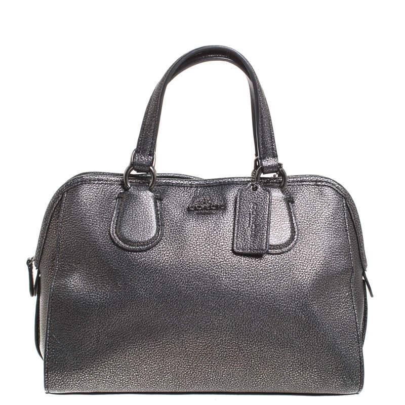 Coach Grey/Black Textured Leather Carryall Satchel