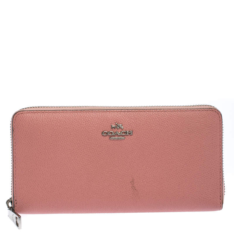 Coach Pink Leather Zip Around Wallet