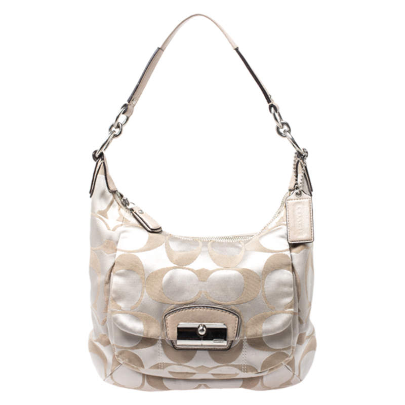 Coach Beige Canvas and Leather Kristin Hobo