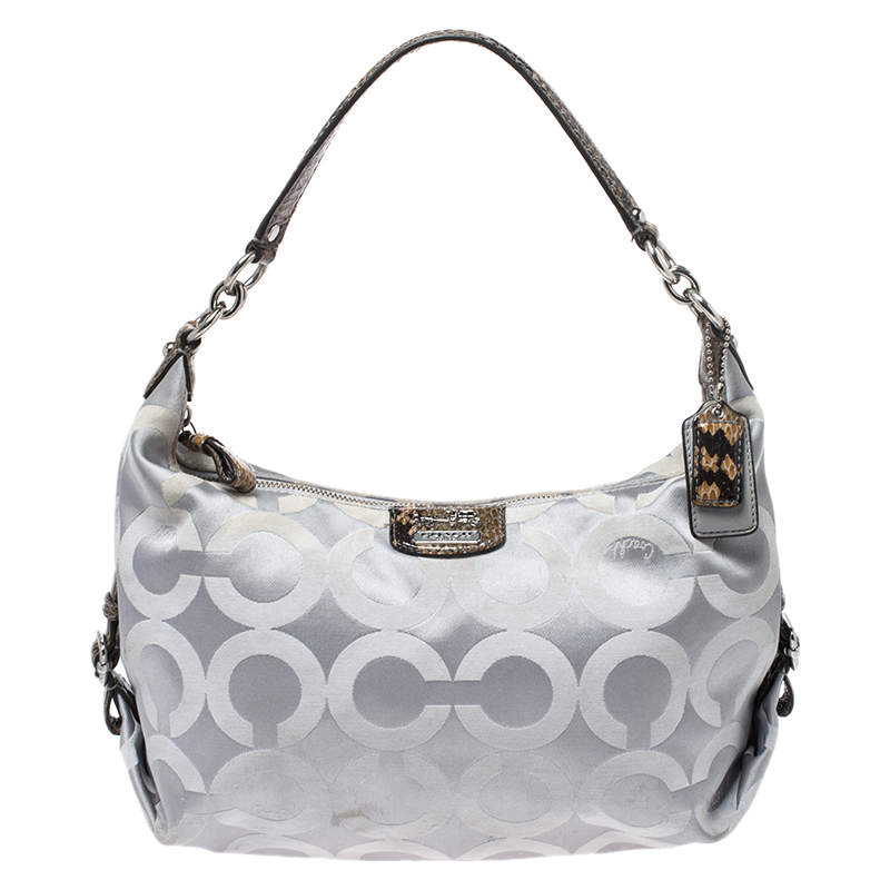 Coach Grey Op Art Canvas and Python Effect Leather Hailey Hobo