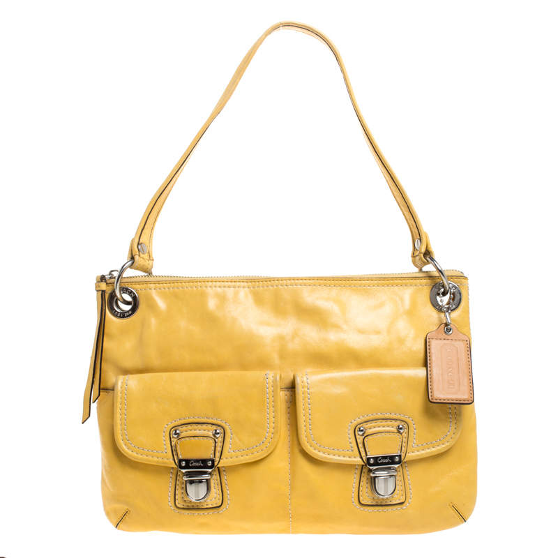 Coach Yellow Leather Double Pocket Shoulder Bag