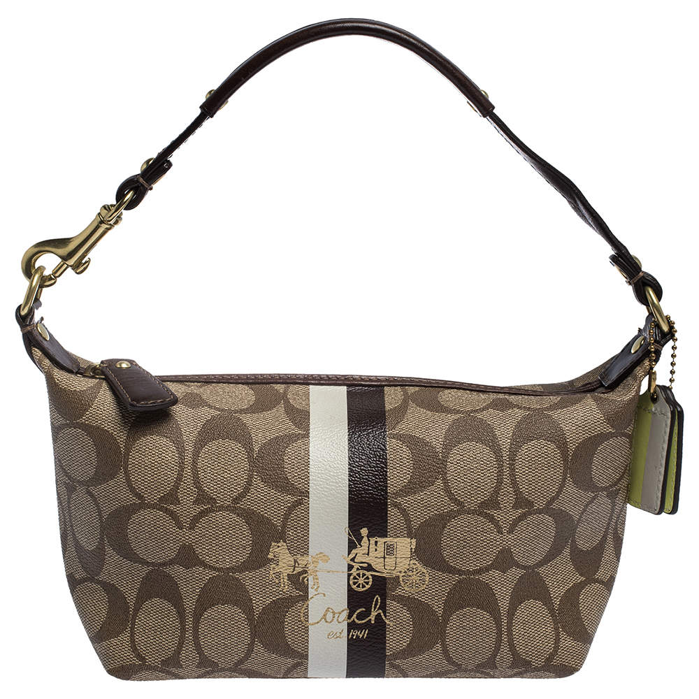 Coach Beige/Brown Coated Canvas and Leather Pochette Bag