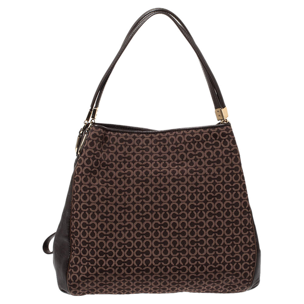 Coach Brown Canvas and Leather Edie Hobo