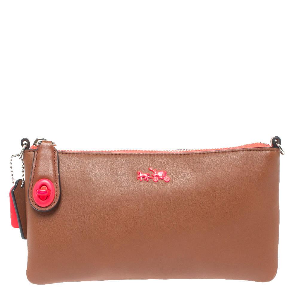 Coach Brown/Neon Leather Herald Crossbody Bag