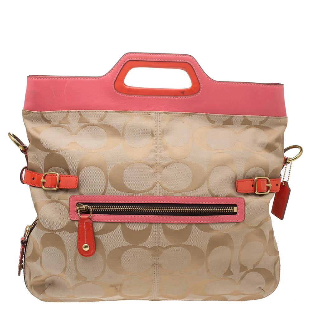 Coach Tri Color Signature Canvas and Leather Bonnie Foldover Shoulder Bag