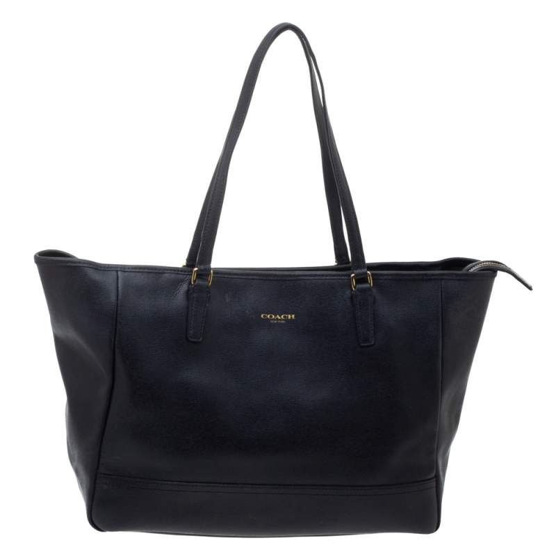 Coach Black Leather City Tote