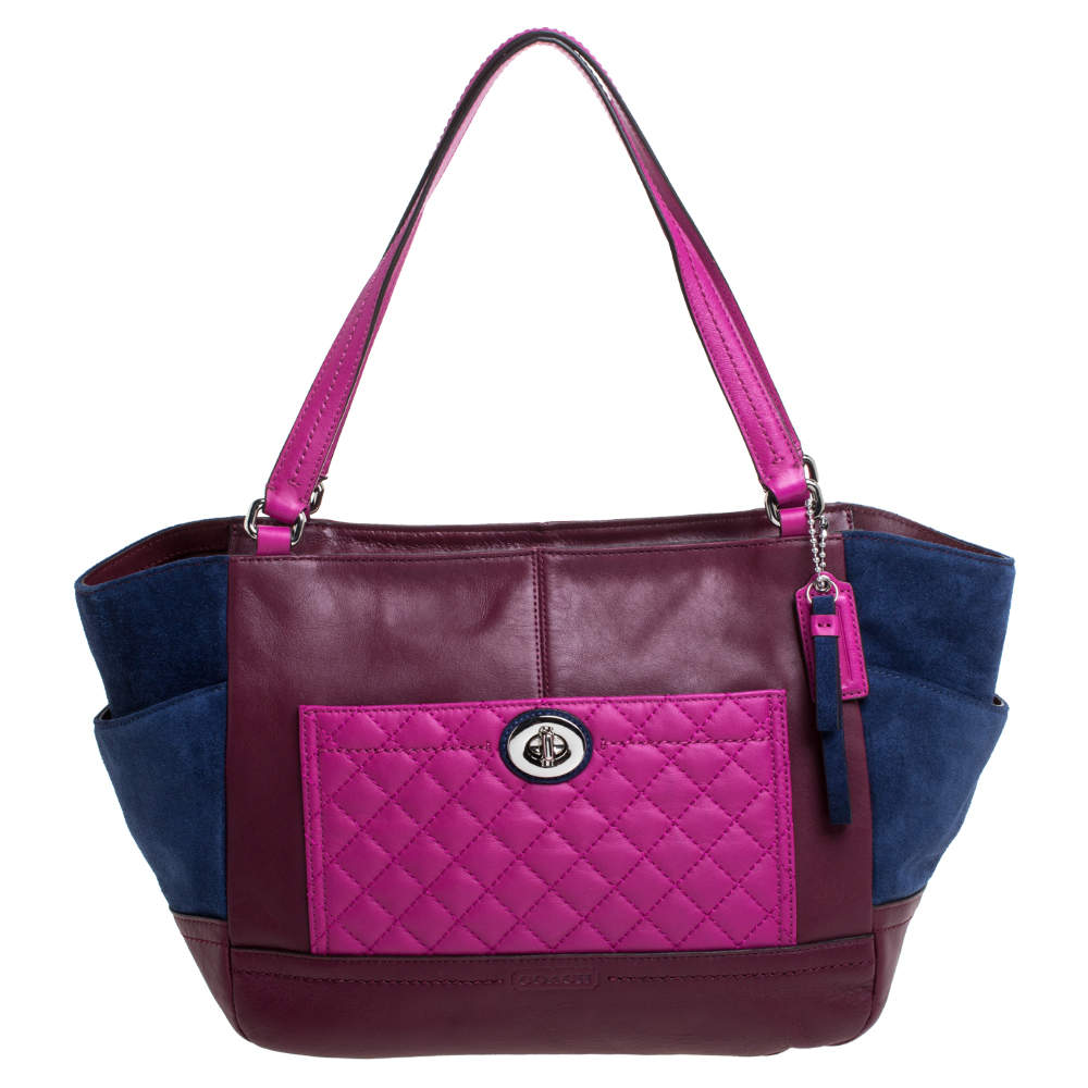 Coach Multicolor Leather and Suede Shopper Tote