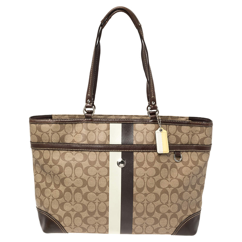 Coach Beige/Brown Signature Coated Canvas and Leather Heritage Stripe Tote