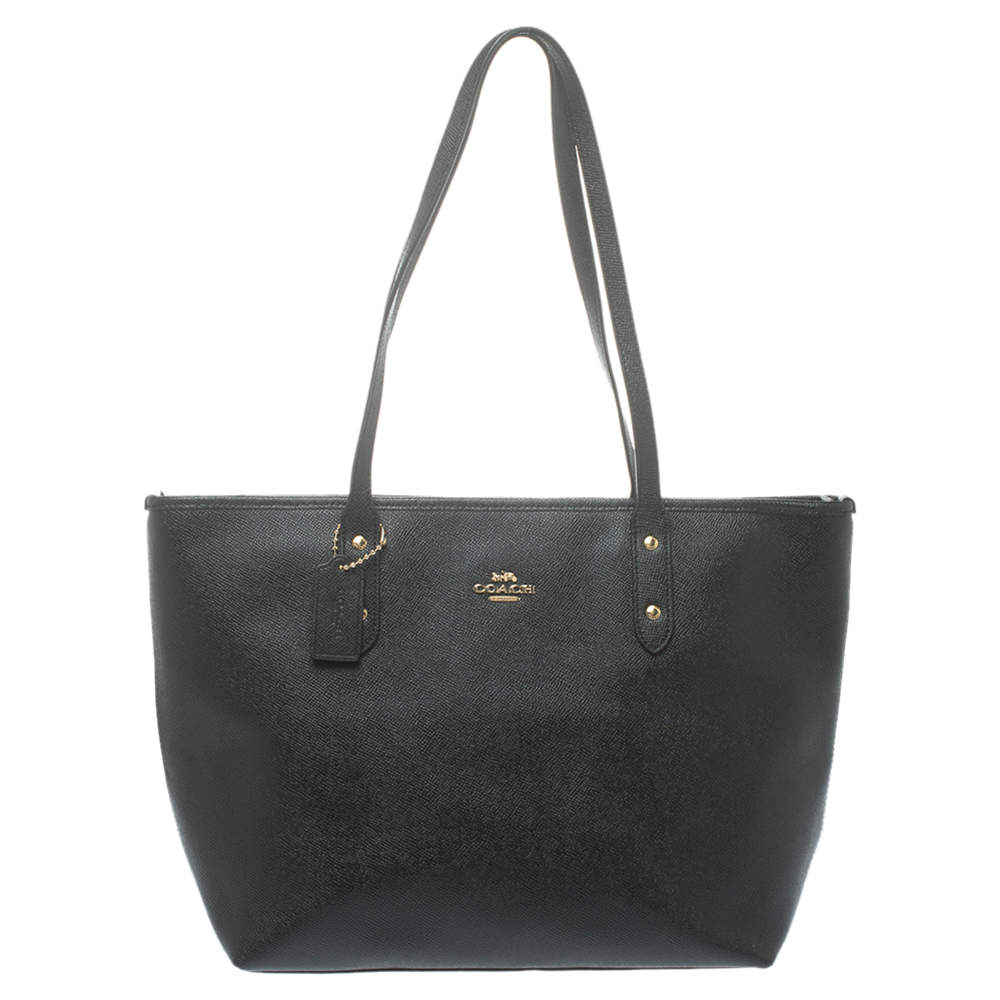 Coach Black Pebbled Leather Town Tote