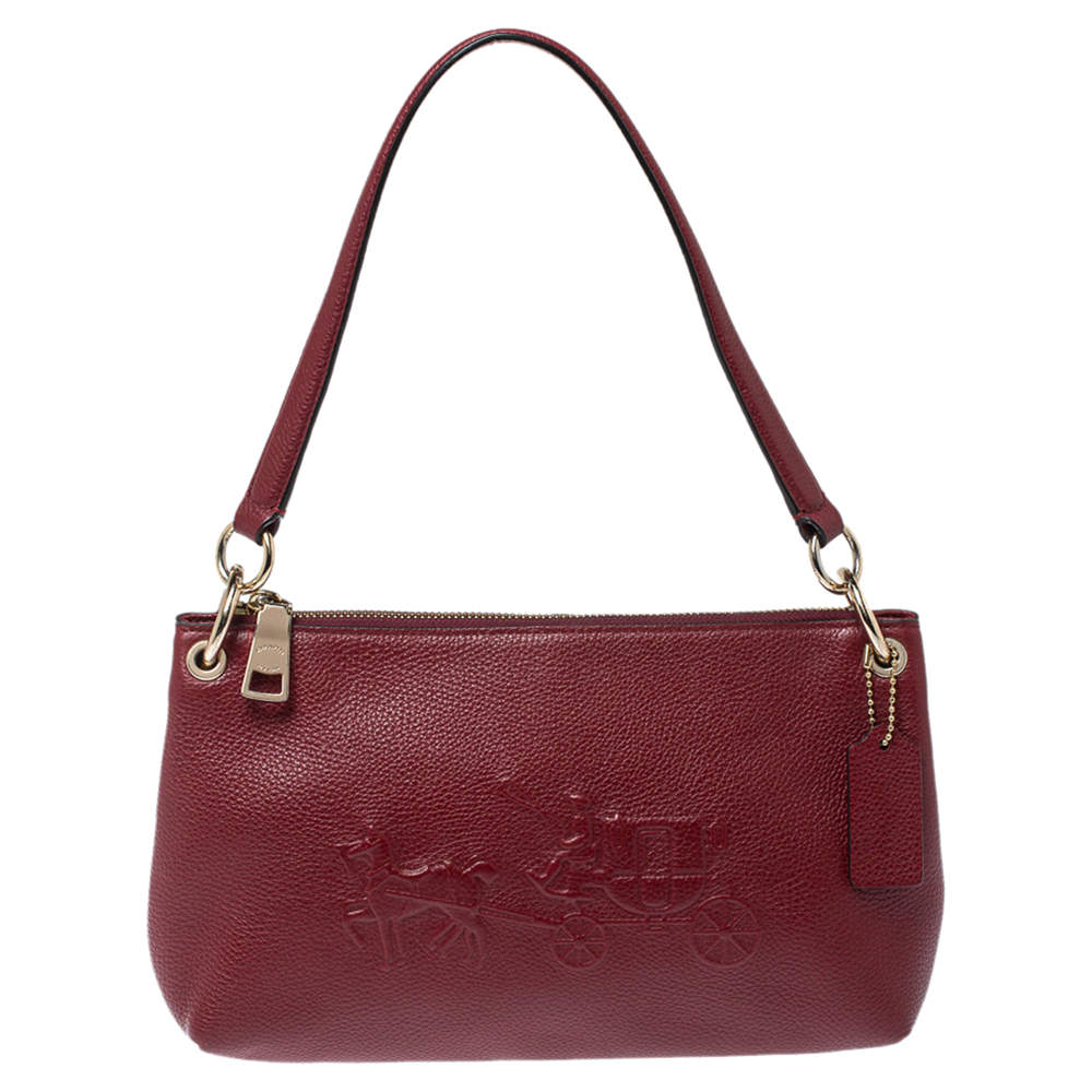 Coach Burgundy Leather Embossed Horse & Carriage Cross Body Bag