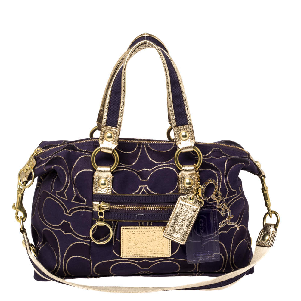 Coach Purple/Gold Signature Fabric and Leather Poppy Satchel