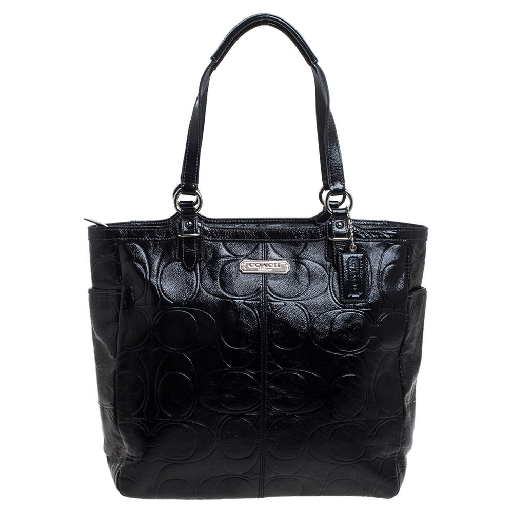 Coach Black Signature Embossed Patent Leather Gallery Tote
