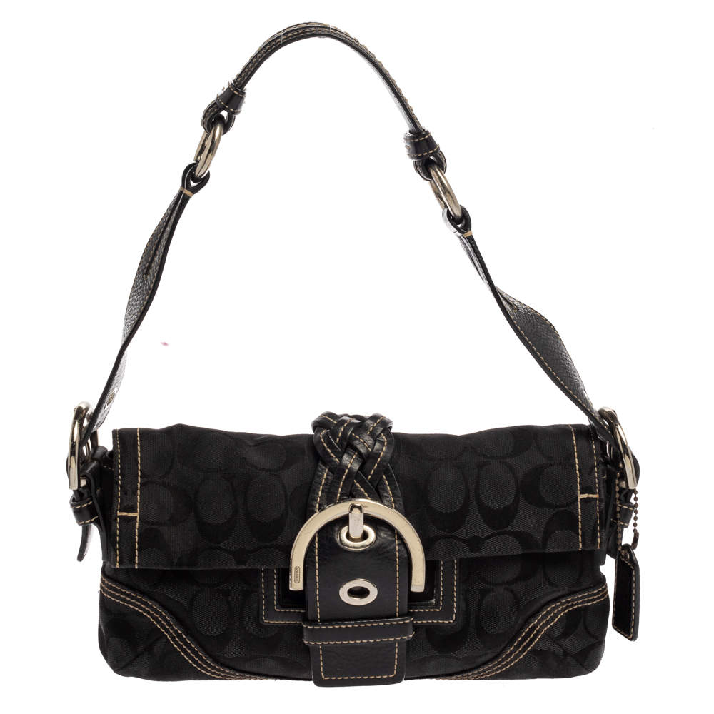 Coach Black Canvas and Leather Signature Buckle Shoulder Bag