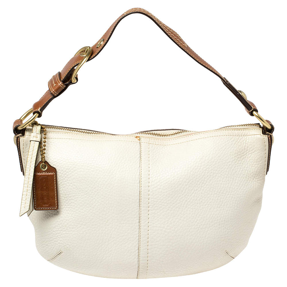 حقيبة كوتشي جلد بني/أبيض محبب بإبزيم