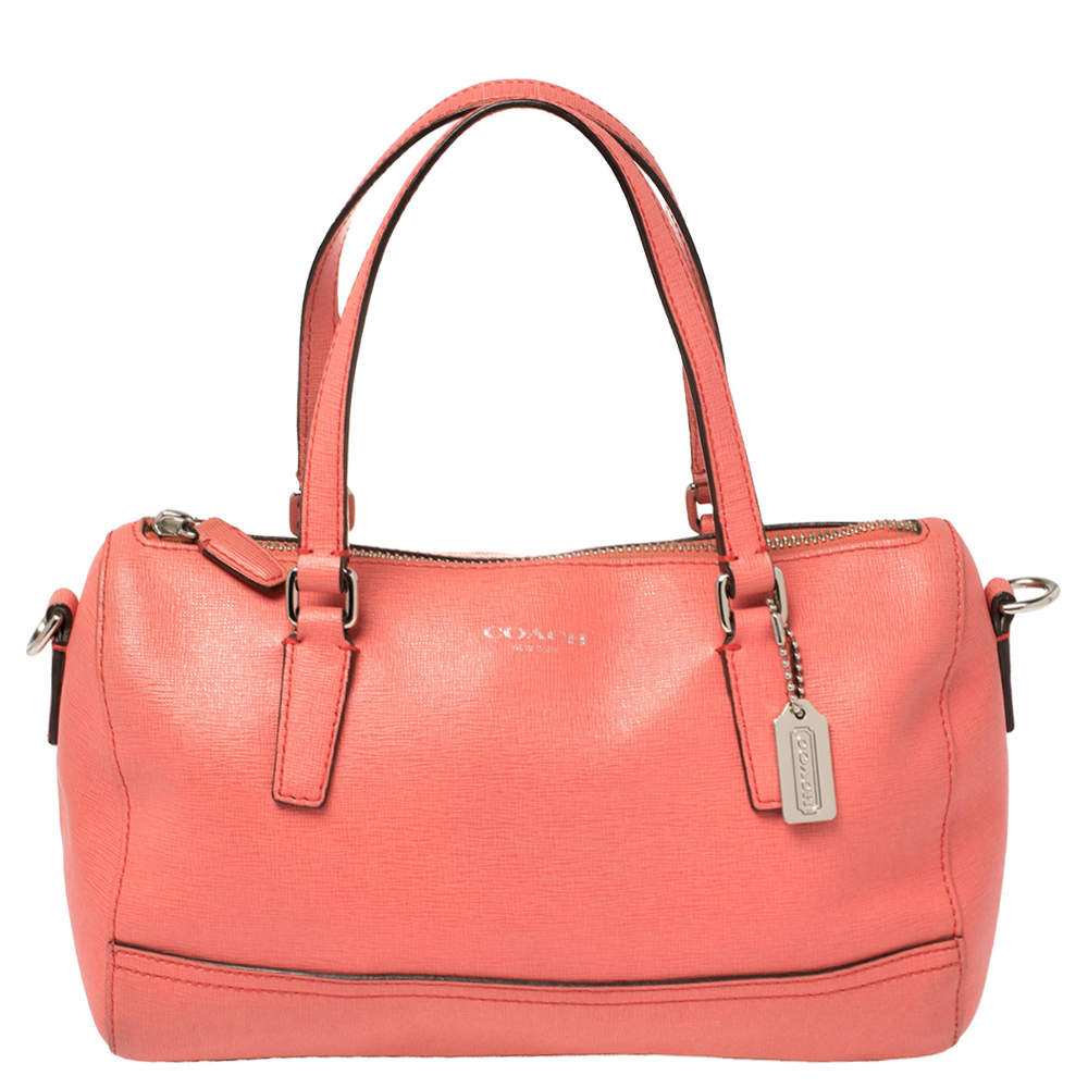 Coach Coral Orange Leather Boston Bag