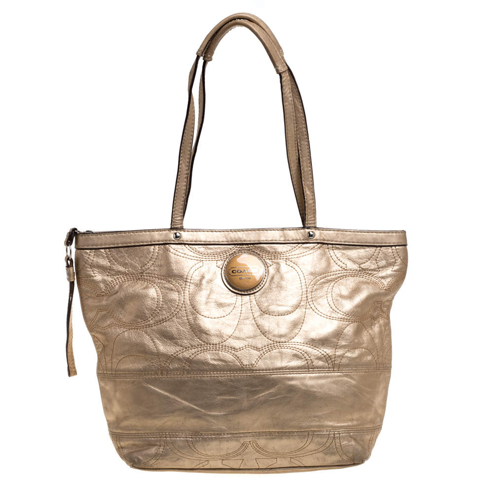 Coach Metallic Gold Leather Tote