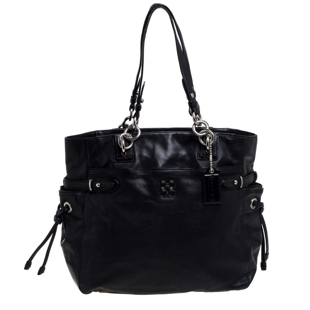 Coach Black Leather Colette Shopper Tote